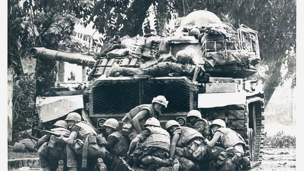 Hue 1968 Tet Offensive - U.S. Marines take Cover Behind a Tank